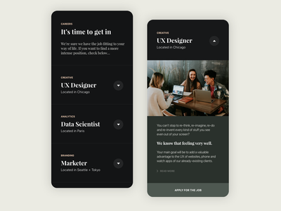 Job offer section - Mobile App