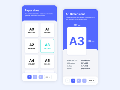 Paper Size Mobile App