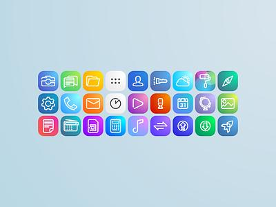 Icons Set theme smartphone gradient minimal linear one line icon condor app ui