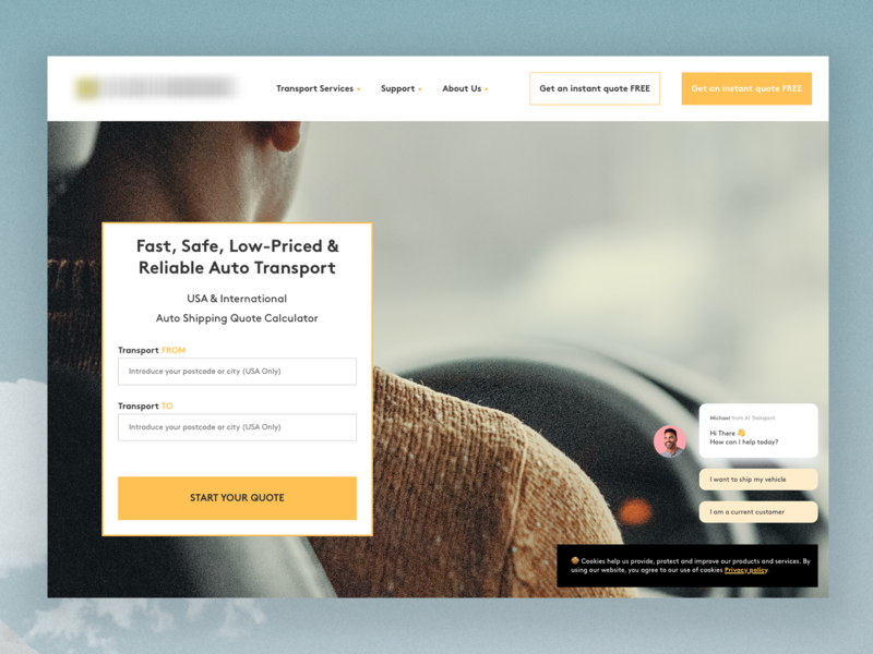 Transport Project interface homepage travel design responsive ux ui