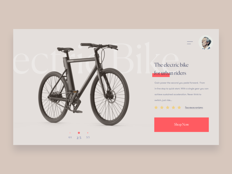 Electric Bike Concept shopping interface responsive ui