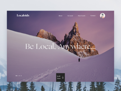 Localoids Landing branding travel homepage interface design ux responsive ui