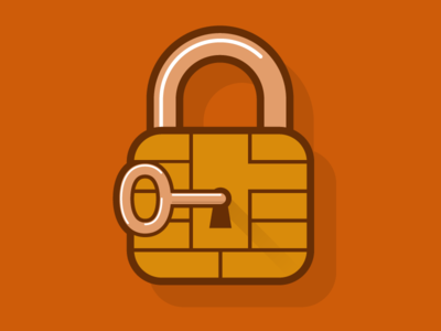 Security key chip padlock illustration