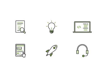 Volano Process Icons lightbulb tablet laptop rocket launch code idea web app development software process