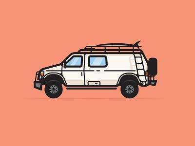 Dann Petty Rad Van car travel epicurrence vector illustration dann petty van rad