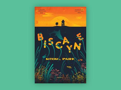 Type Hike - Biscayne National Park biscayne type type hike illustration poster national park