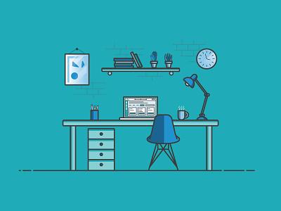 Designer Desk Environment aarp illustration