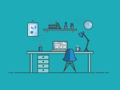Designer Desk Environment aarp illustration