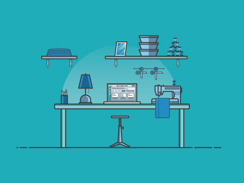 Tailor Desk Environment aarp illustration