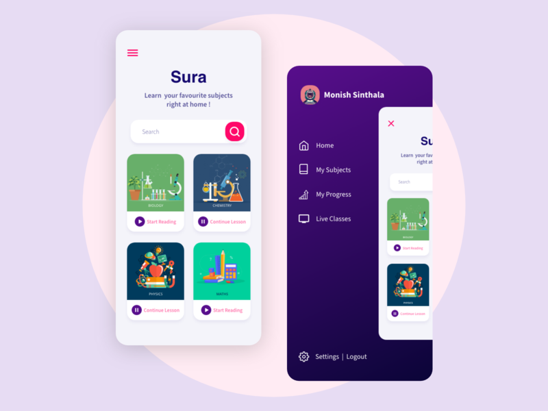 Online Education App Design student app e-learning education app minimal uidesign