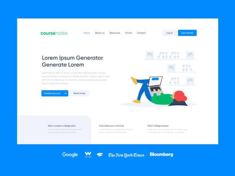 CourseNotes concept design vector minimalist web mockup ui 2d minimal flat website design