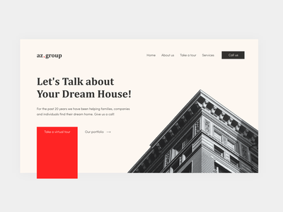 az.group real estate project ui logo illustration 2d minimal flat building real estate mockup branding website design