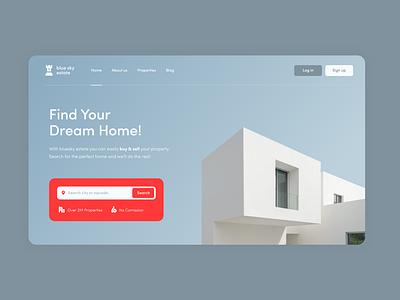 Blue Sky Estate Landing Page property building real estate illustration 2d minimal mockup branding website design