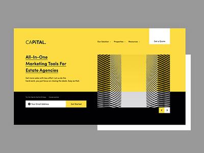 CAPITAL. landing page design real estate ui logo illustration 2d flat minimal mockup branding website design