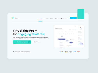 virtual classroom hero section meeting zoom saas minimalism flat illustration 2d minimal mockup branding website design