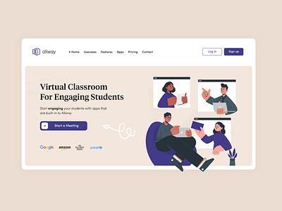 virtual classroom hero section #3 logo 2d illustration flat minimal mockup branding website design