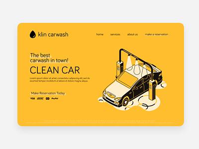 klin carwash concept website mockup logo design design branding