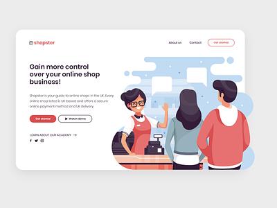 shopster landing page project minimal vector illustration web website ui flat 2d branding mockup design