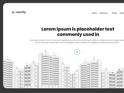 powerCity flat  design design web minimalist website ux design 2d minimal illustration flat mockup design