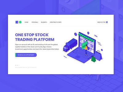 Trading platform concept design web design minimalist 2d web ui minimal logo design flat website mockup design