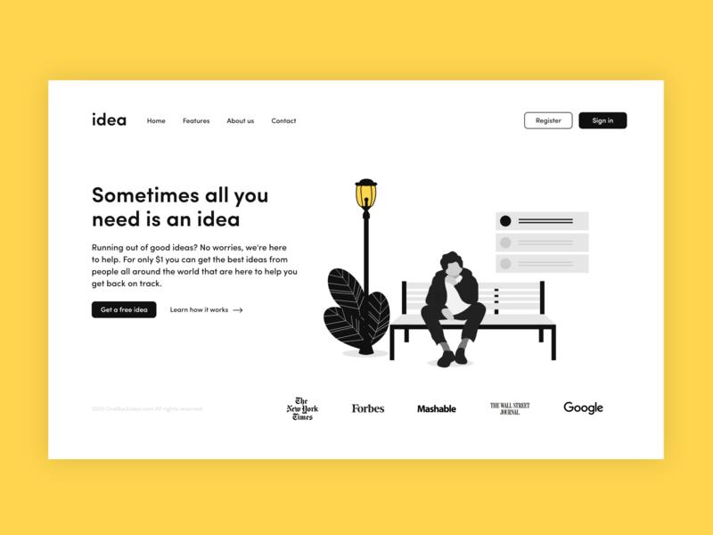 an idea minimalism minimalist illustration ui web 2d minimal flat website branding mockup design