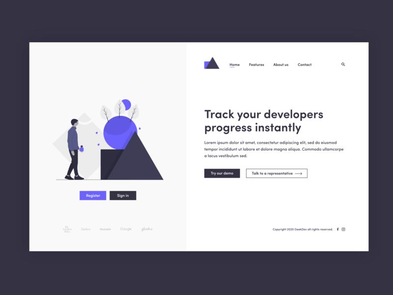 GeekDev landing page design minimalist illustration web ui 2d minimal flat website branding design
