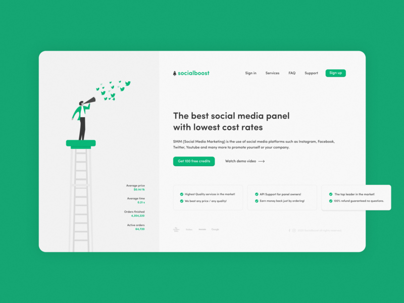 Social Boost landing page