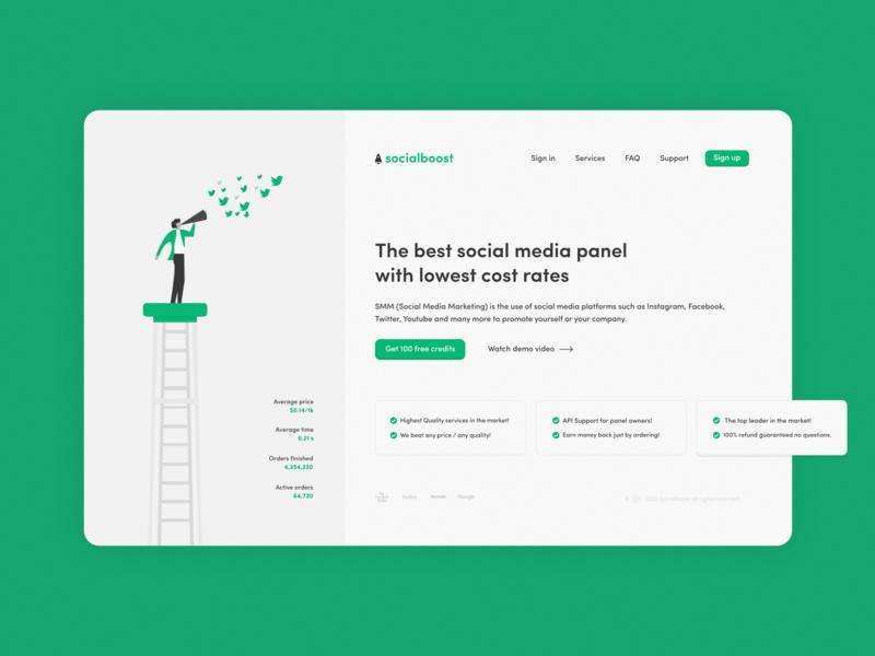 Social Boost landing page minimalist illustration web ui 2d flat website branding mockup design