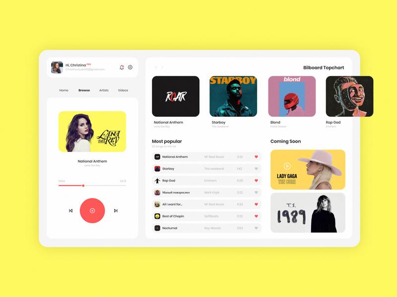 Media Player concept design minimalist web ui 2d flat minimal website branding mockup design