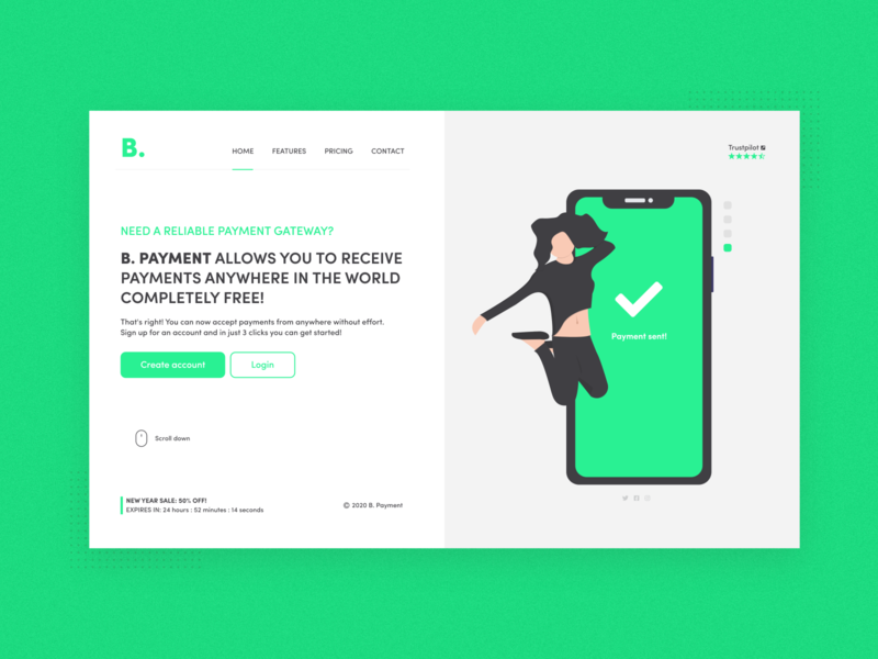 B payment home page redesign graphic  design payment saas graphic design ux design minimalist ux ui web 2d minimal flat website design