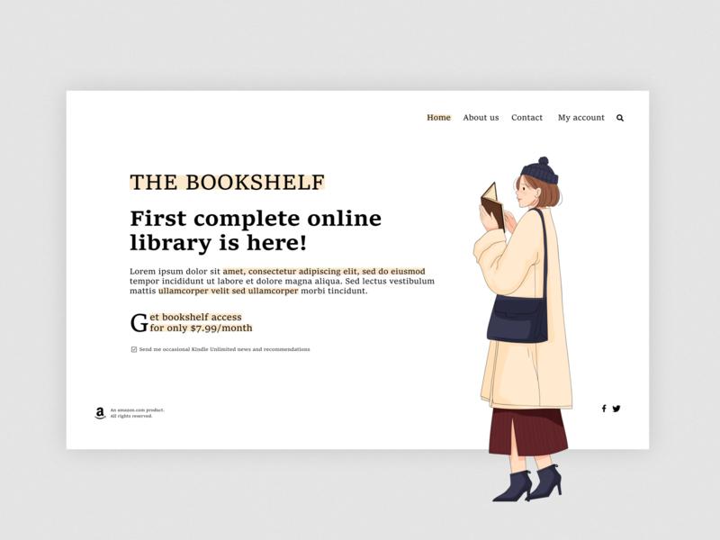 The Bookshelf ebook cover amazon kindle book ebook kindle branding vector illustration minimalist web ui 2d minimal website design
