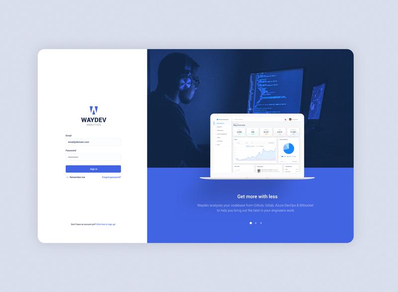 waydev concept design login page ux design web design graphic design 2d page login dashboard ux illustration minimalist web flat ui minimal mockup website branding design