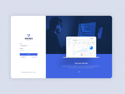 waydev concept design login page ux design web design graphic design 2d page login dashboard ux illustration minimalist web flat ui minimal mockup website branding design