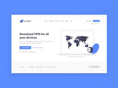 LockVPN landing page rebranding vpn app saas website ux design minimalist web ui 2d minimal flat website saas design vpn saas design