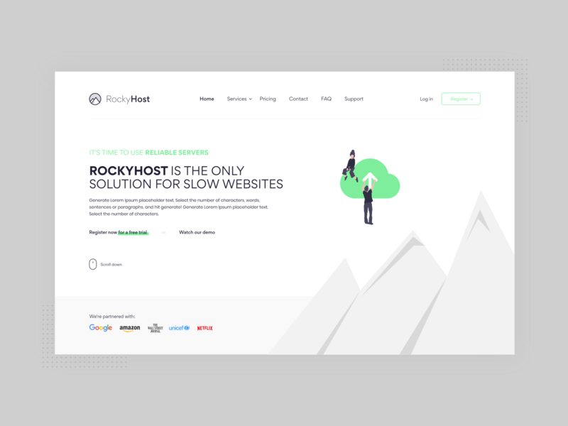 RockyHost UI/UX design hosting template rebranding hosting host logo design illustration minimalist web 2d minimal mockup website branding design