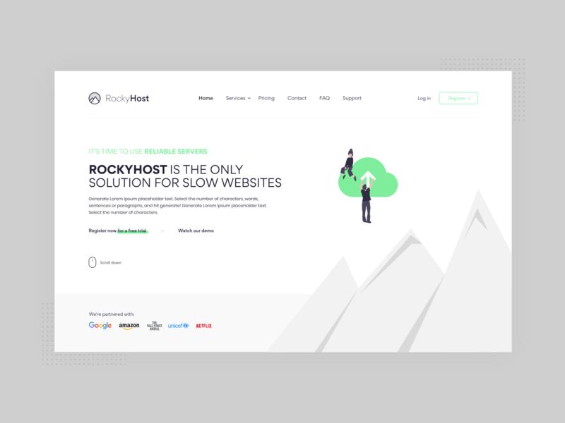 RockyHost UI/UX design hosting template rebranding hosting host logo design illustration minimalist web 2d minimal mockup website branding design