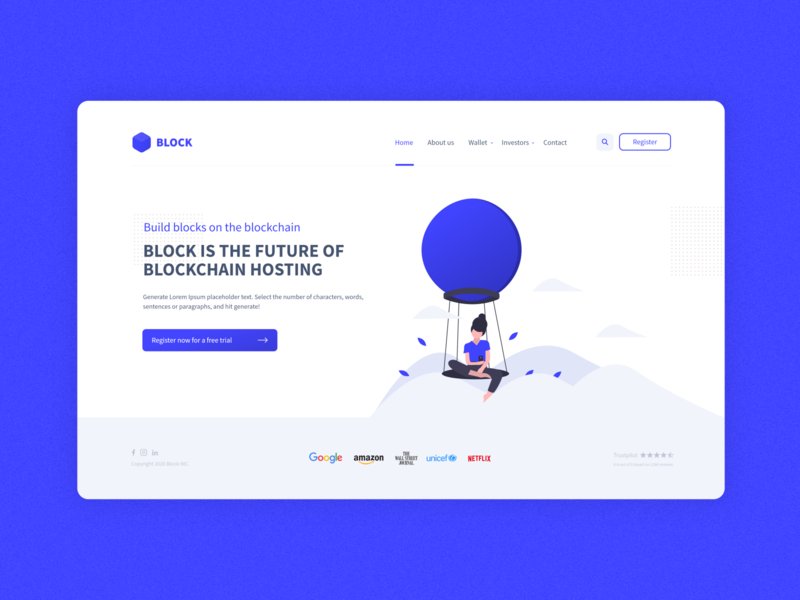 Block concept design brand abstract dribbble creative concept clean blockchainfirm blue blockchain ux design minimalist web ui 2d minimal flat website branding design