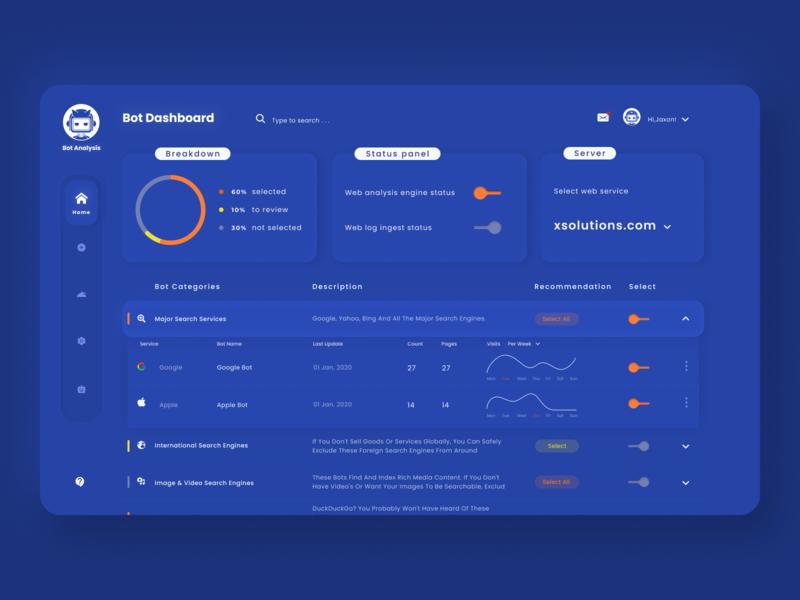 Bot dashboard design concept