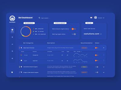 Bot dashboard design concept concept contrast orange web homepage ui dashboard blue 2020
