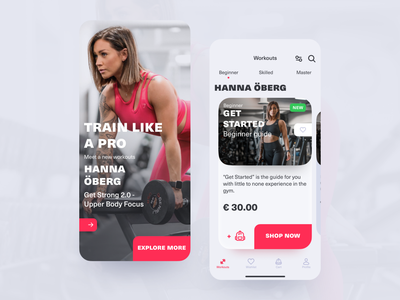Workouts e-commerce app ecommerce fitness workout workout tracker ios app gym app 2020