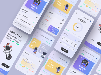 Language School App language school languages ios app concept ios design app ui ecommerce figma 2020