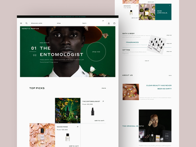 HERETIC Parfum (concept website) online-shop 2021 beauty green mainpage shop fragrance fragrances parfum white space minimalism minimalistic concept web design ecommerce ui figma