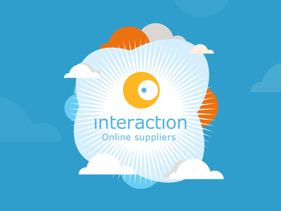 Interaction logo heaven cover suppliers clouds badge retro sky