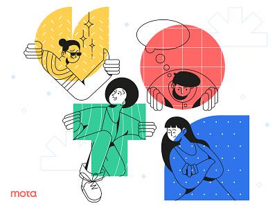 Mota! vector people landing page website ui illustrator header design illustration flat