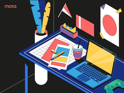 Workspace landing page header website vector people ui illustrator design illustration flat night