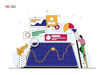 Data Analysis landing page header website vector people ui illustrator design illustration flat