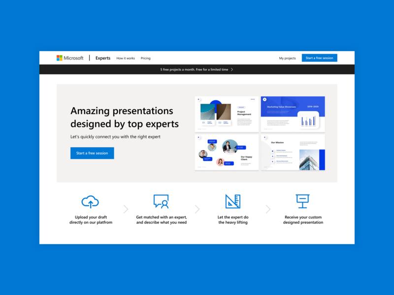 Microsoft Experts web design webdesign fluent design system design system modern design visual design ui design how it works steps call to action landing page clean design minimal design design concept microsoft
