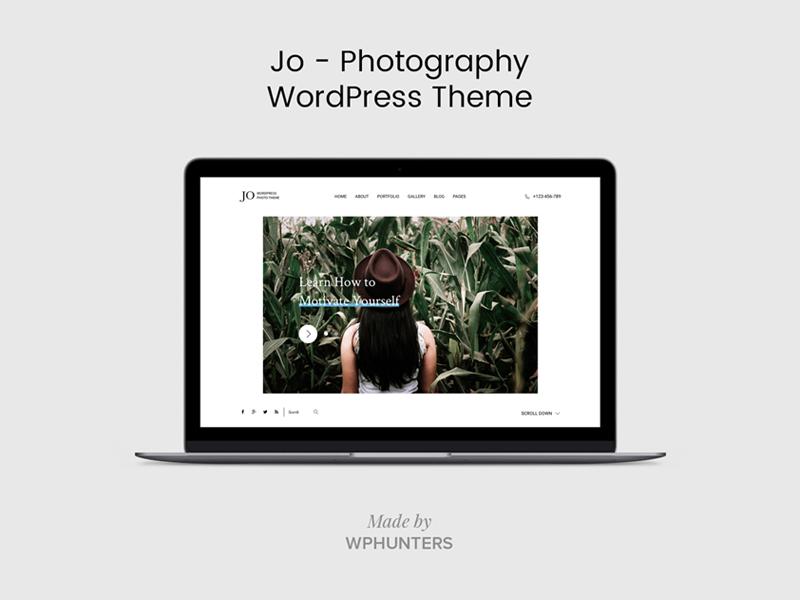 Jo - Photography WordPress Theme header typography modern minimal white clean slider blog creative photo theme wordpress