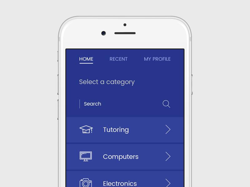 Tutoring App minimal categories menu search trendy new flat modern clean education app