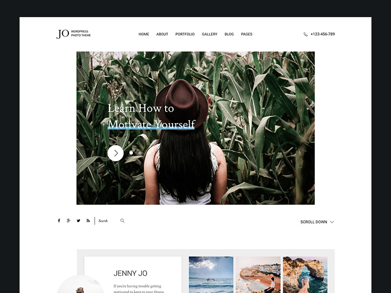 Jo - Photography Portfolio WordPress Theme portfolio white blog minimal modern instagram slider clean photo photography theme wordpress